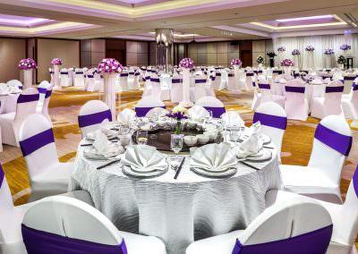 architectural photography ballrooms meeting rooms Holiday Inn Atrium Singapore Atrium Ballroom Purple Wedding Setup