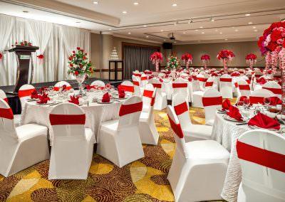 architectural photography ballrooms meeting rooms Holiday Inn Atrium Singapore Changi Ballroom Red Wedding Setup