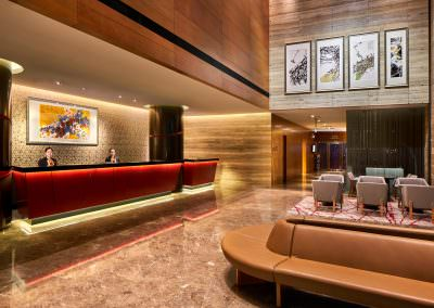 architectural photography spaces Ramada Hotel at Zhongshan Park Singapore Hotel Lobby With Staff