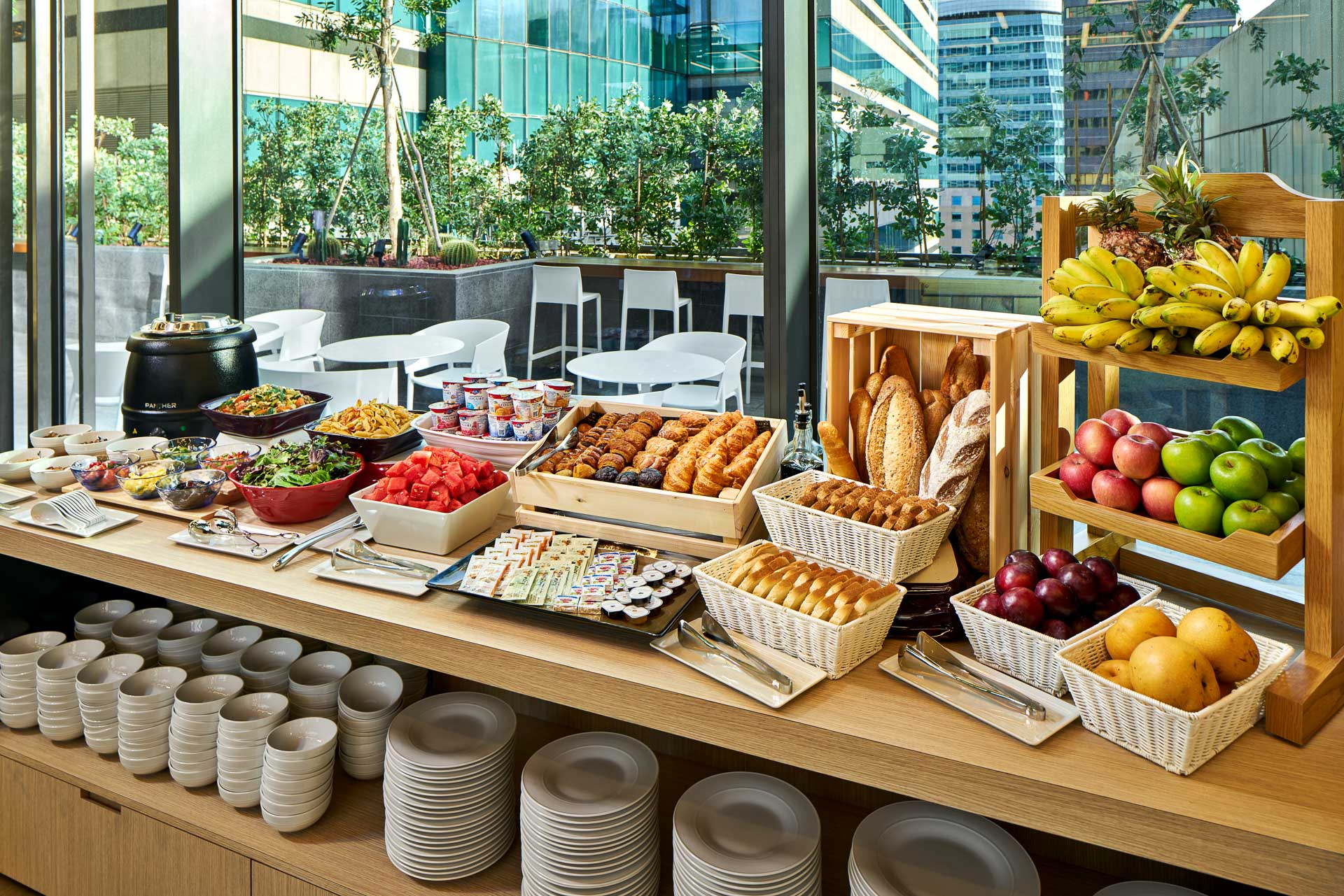 breakfast setup close up interior photography at yotel in singapore
