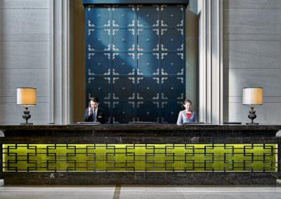architectural photography of hotel lobby front desk with staff in tianjin jinnan china