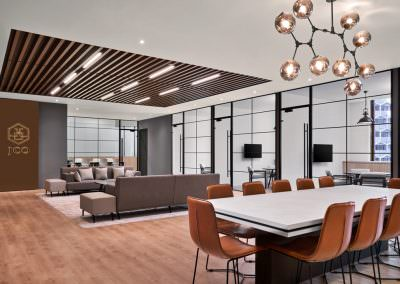 open concept office in singapore with meeting table and leather chairs interior photography singapore