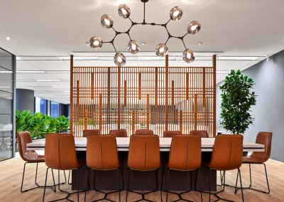 meeting table with leather chairs and lights interior photography singapore at jco offices