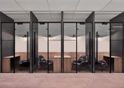 privacy rooms with glass doors and leather chairs interior design photography at jco office in singapore