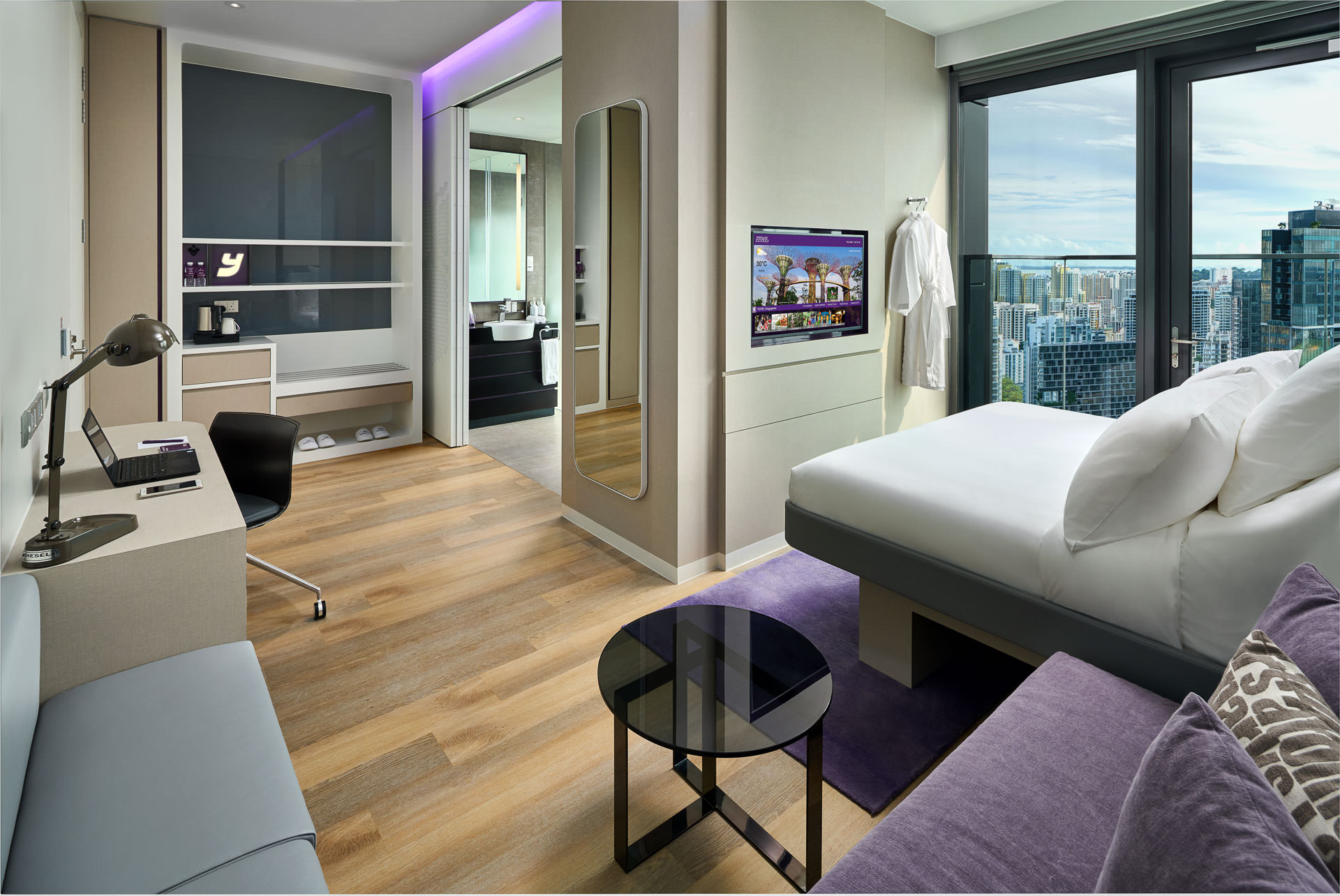 hotel interior photography of the deluxe room at yotel in singapore