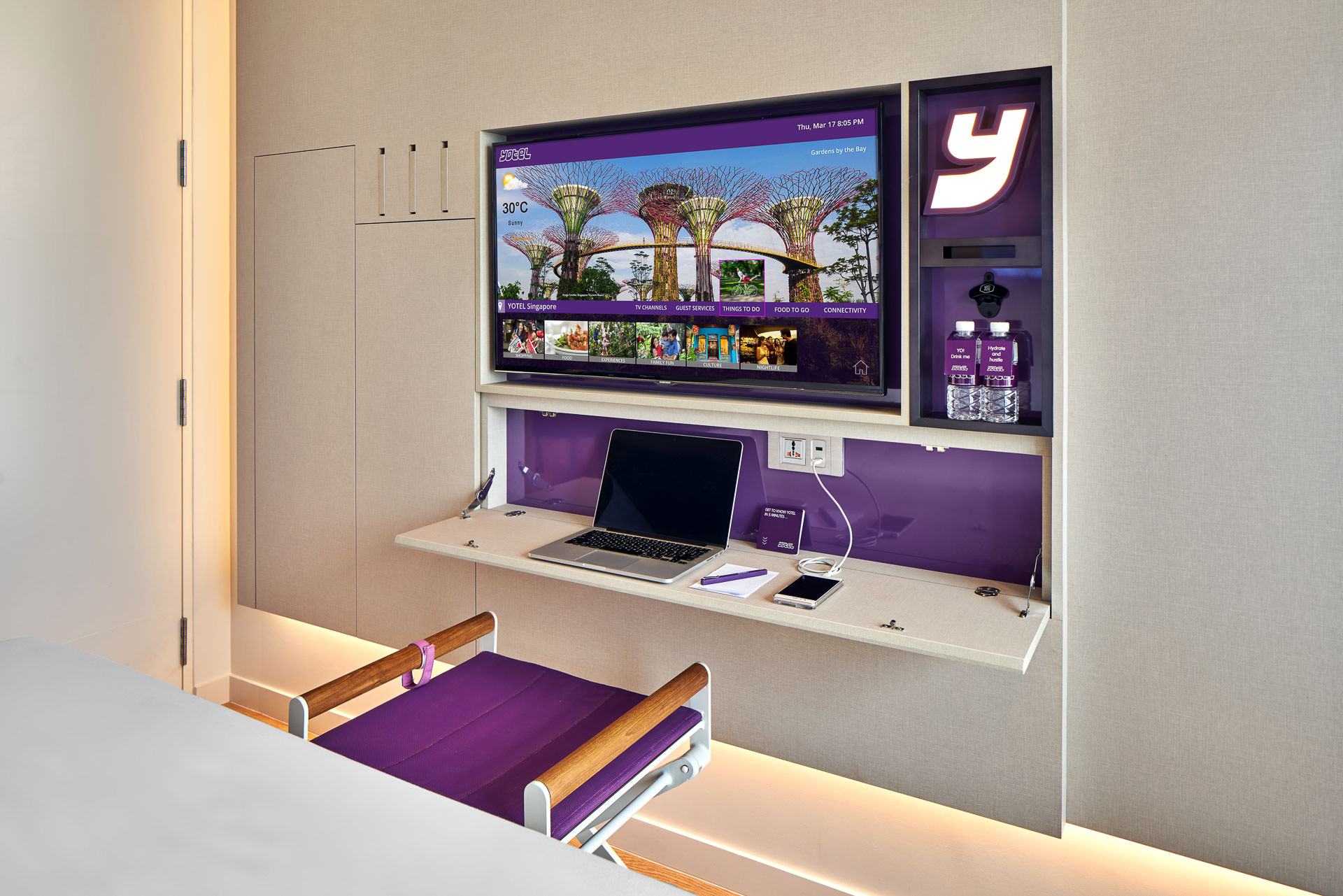 Detail photography of unique tv and desk combination at yotel in singapore