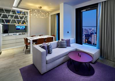 55-Interior Photography Singapore-Yotel - Suite Living Area Dusk