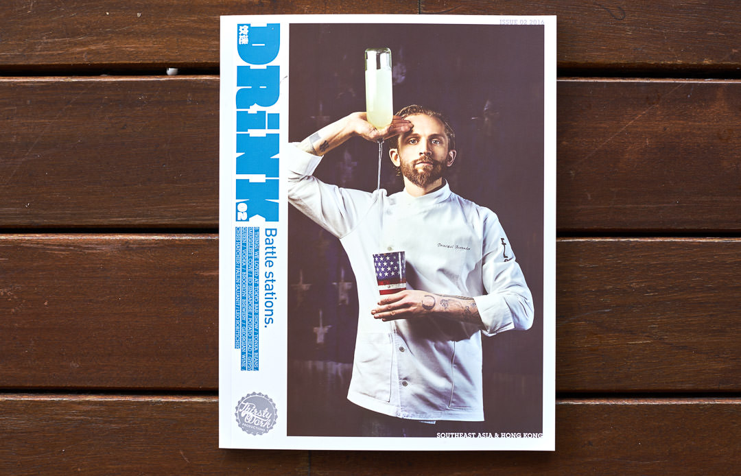 Cover of Drink Magazine 03 showing lifestyle photography of bartender pouring drink