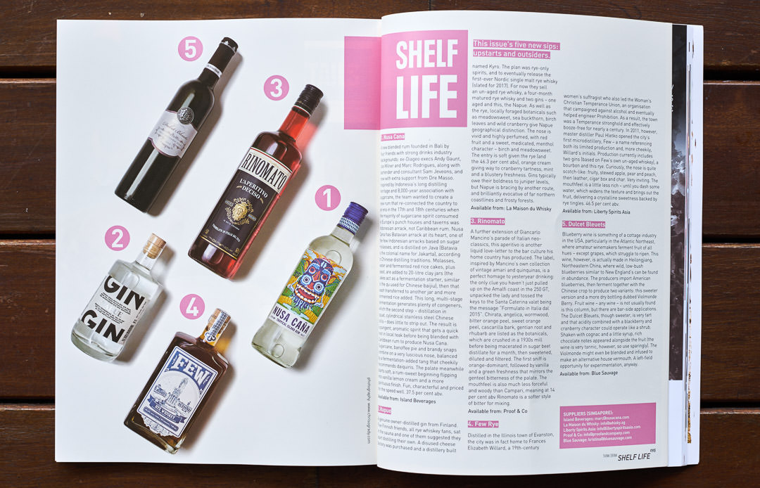 Drink Magazine 03 showing spirits bottles collage tasting article