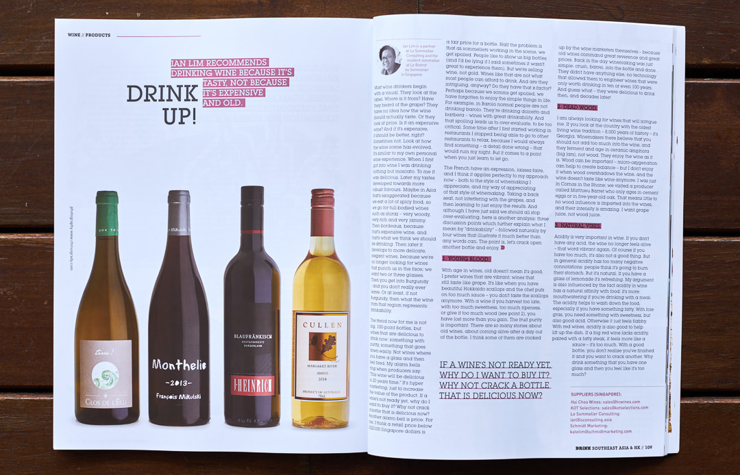 Drink Magazine 03 showing four bottles of wine for review
