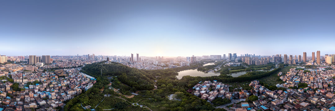 aerial 360 photography and virtual tour of foshan china at sunset showing an aerial overview of an ancient Chinese temple