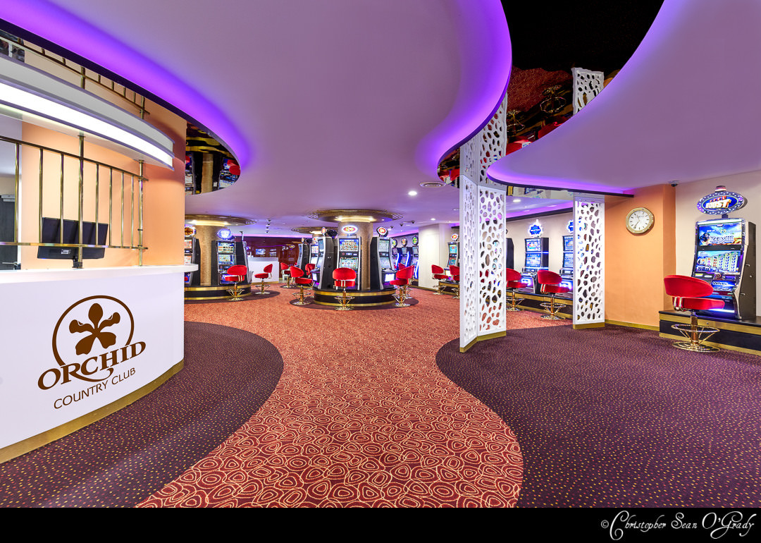 Interior Photography showing casino and cash register at the orchid country club singapore