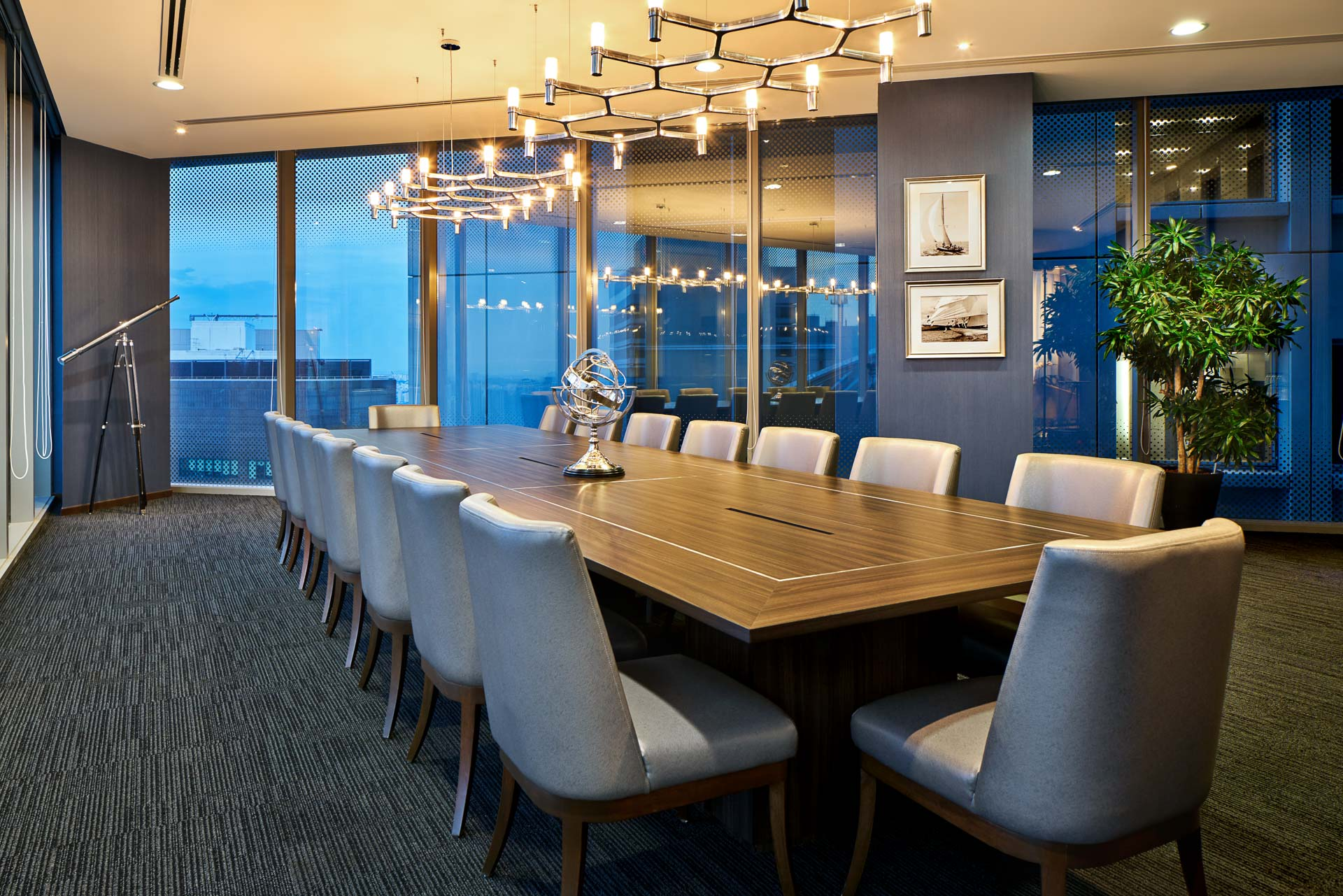 Interior Photography Of The Night View Of The Sky Premium Boardroom In  Singapore