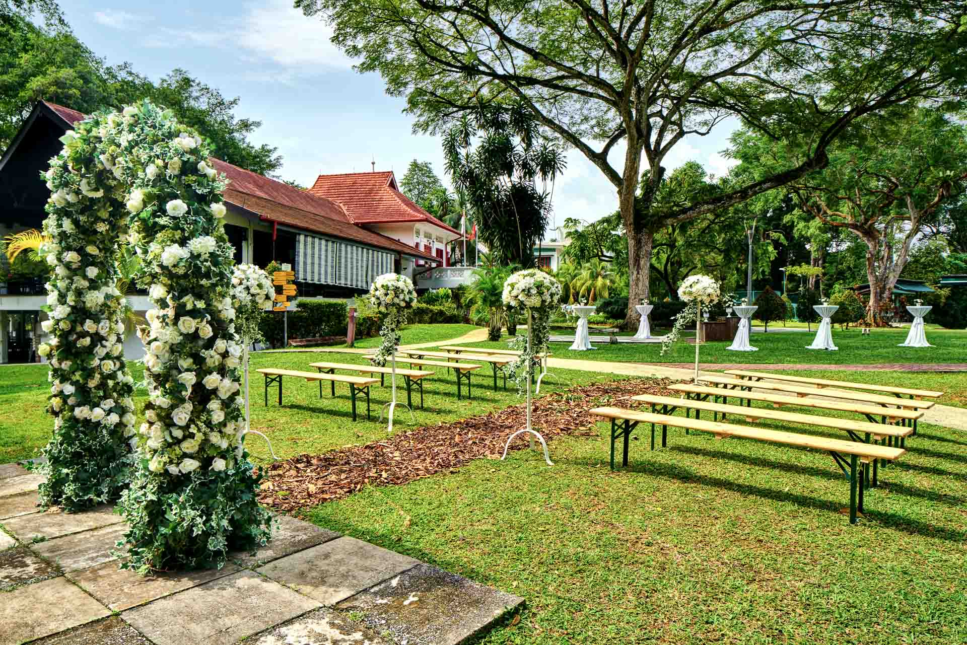 architectural photography wedding setup with reception area at swiss club in singapore
