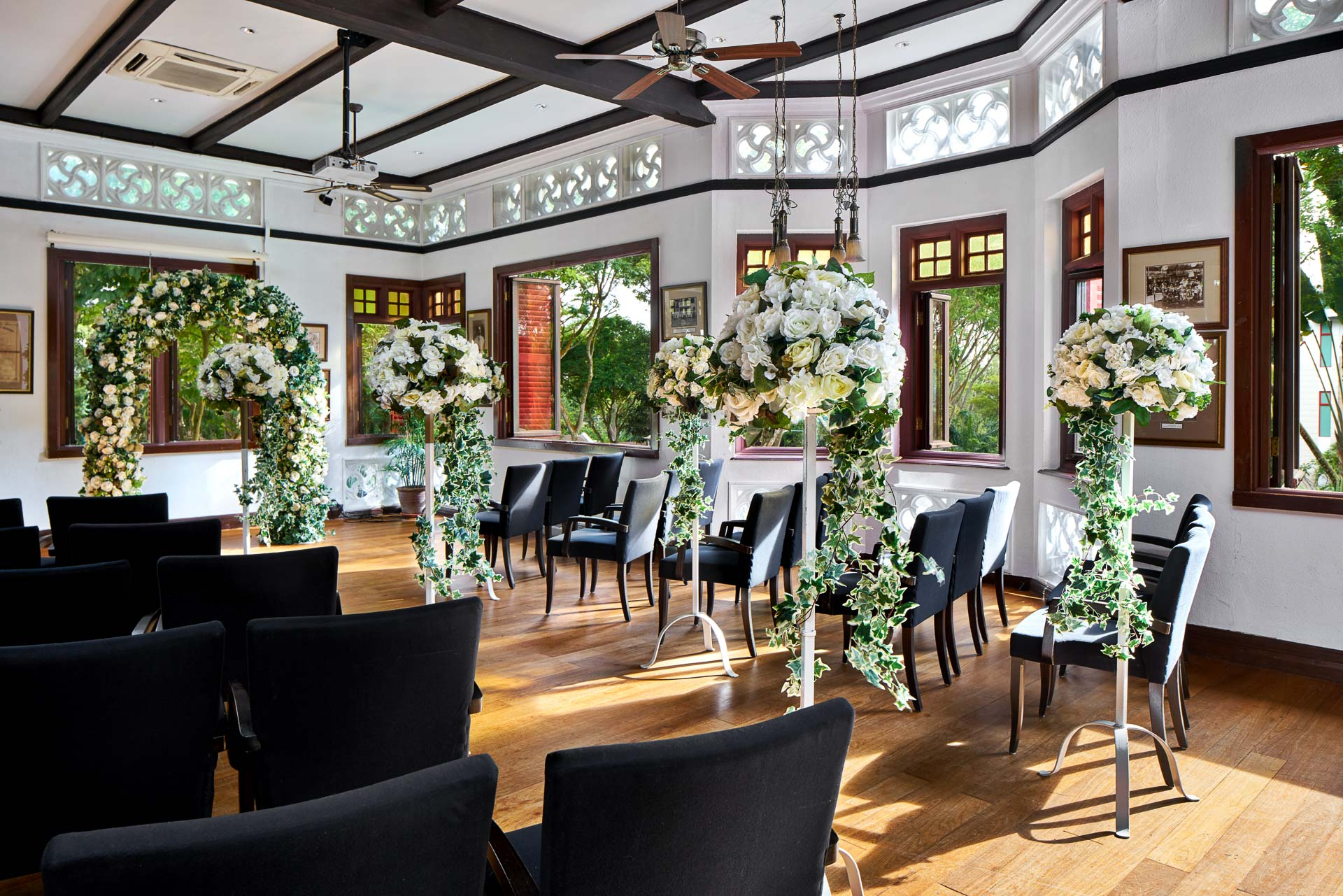 Interior Photography of a wedding setup at the rifle lounge at swiss club in singapore