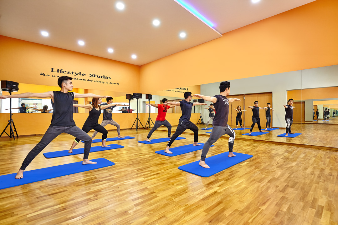 Lifestyle photography of people working out in Yoga Studio 2