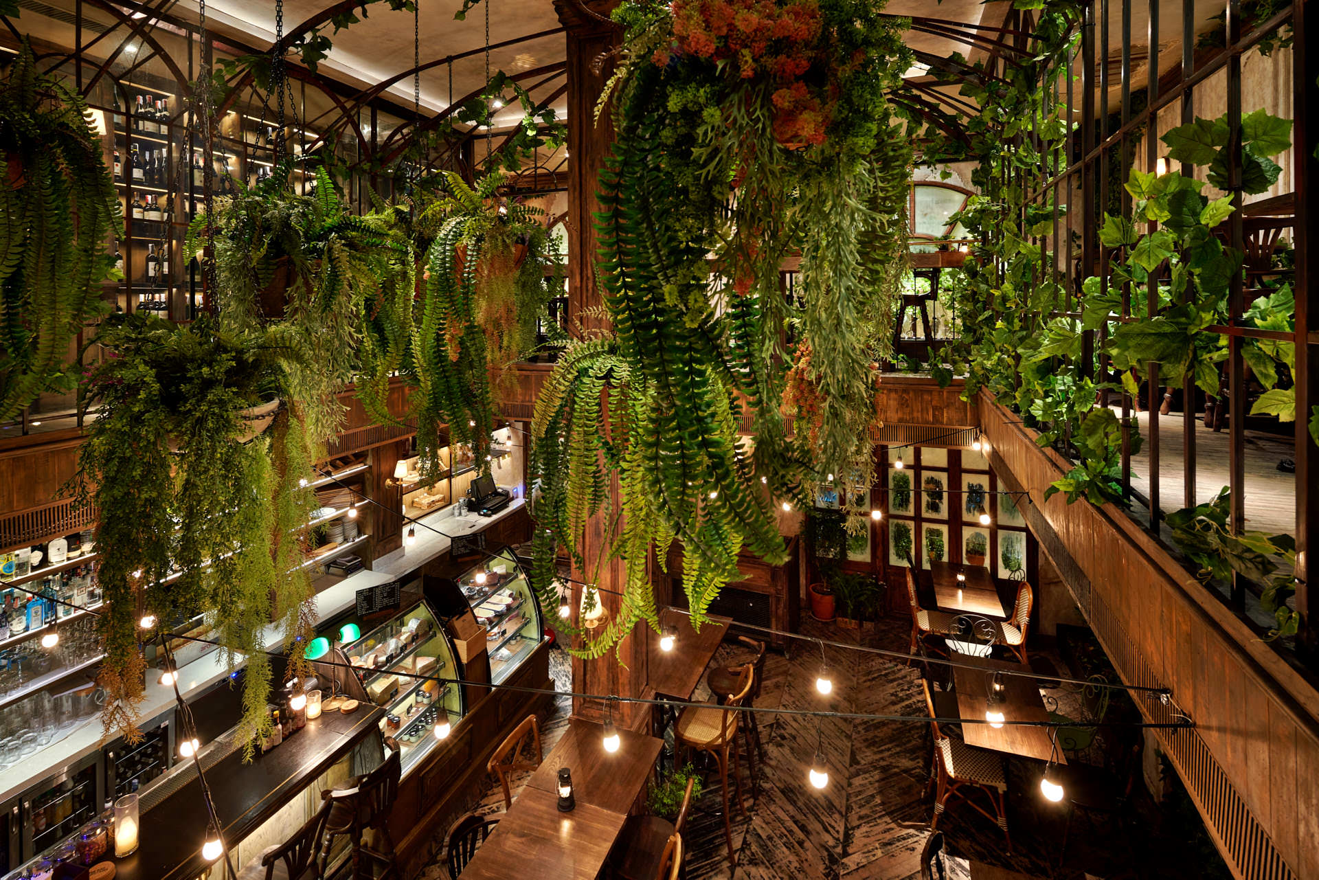 Interior design photography of the mezzanine with green plants hanging over the seating area below