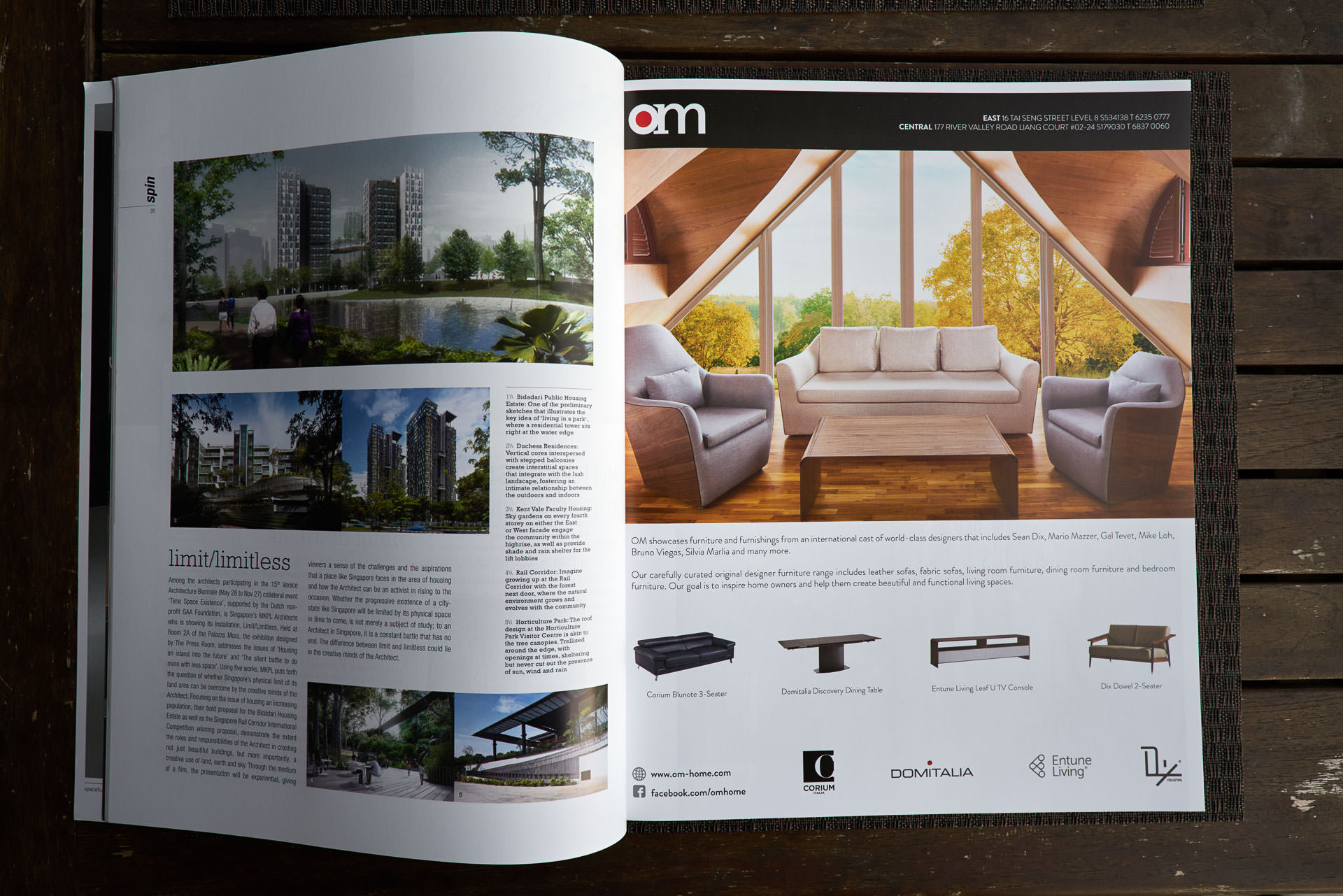 Design and Architecture Magazine issue 92 Showing OM Homes advertisement with image by Christopher O'Grady Photography