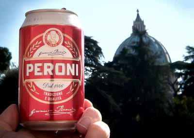 Peroni consumed in Vatican City.