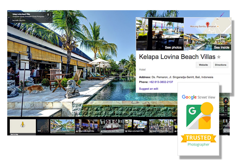 collage of images showing google trusted photographer 360 virtual tour services
