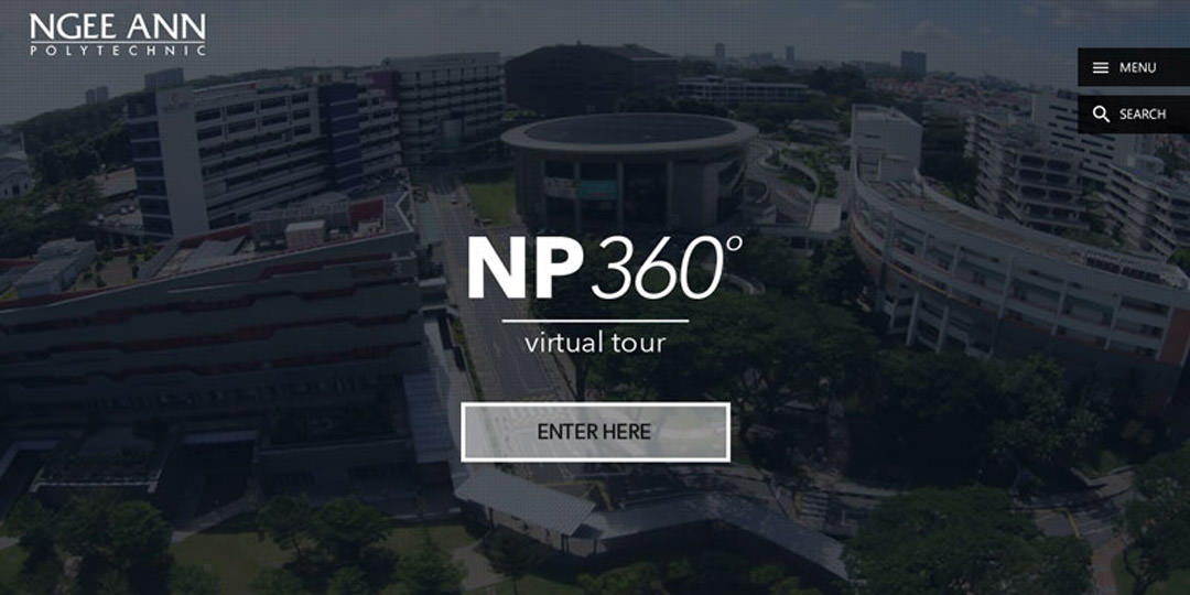 360 Aerial photography in Singapore at ngee ann polytechnic. 360 aerial overview of campus in Singapore.